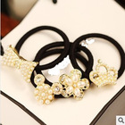 Free shipping  New 2013 Fashion Pearl Hairbands Crown  Bow hair rope Headbands Hair Accessories(China (Mainland))
