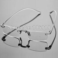 1x Frameless Rimless Bifocal Reading Glasses Smoke Reader Magnifying Eyeglasses Men Case +1.00