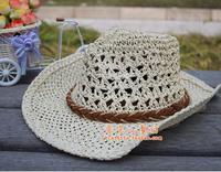 Child straw braid hat baby cowboy hat male child sun hat cap