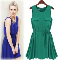 Free Shipping New Arrive Dresses 2013 Spring Summer Sleeveless High Quality Vintage Mid-calf Chiffon Brife DressLY121455