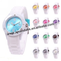 ON SALE! 106pcs/lot,43mm white band silicone watch,fashion watch wholesale,no logo 13 colors jelly watch