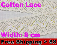 0.59$/meter.sale from 1 meter, cotton 8cm width Lace with purl for fabric/home furnishing  warp knitting Garment Accessories1248