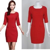 Free Shipping  Korean New women Slim package hip Career three-quarter sleeve red dress