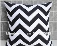 45cm x 45cm TBBS7 Black & White Zig Zag Cushion Cover Double Sided