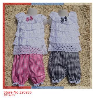 2013 New Summer Kids Clothing Set Lace Children Girl Clothes Set T Shirt And Lattice shorts Pants 3 Colors Infant Garment