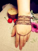 European super star New fashion punk style handmade black lace charm slave bracelets for women designer bracelet with chain