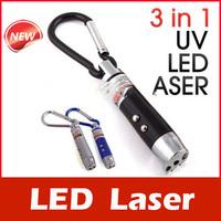 3 in 1 Laser Pointer 2 LED Flashlight UV Torch Keychain