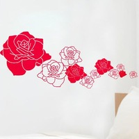 (Minimum order $5) Various Color Rose Love Decor Mural Art Wall Sticker Decal WY1157