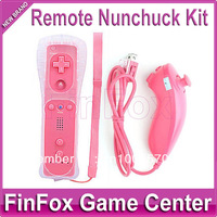 Remote and Nunchuk Controller With Silicone Case and Hand Strap for Wii (Peach)