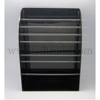 Acrylic Displays Tray with Organic Glass Bar,  for European Beads Displays,  Black,  Size: displays: about 19.5cm long