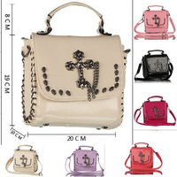 6Colors New 2014 Arrival Retro Rivet design Shoulder Bags For Women Lady Fashion Skull Hasp Handbags Hot Selling