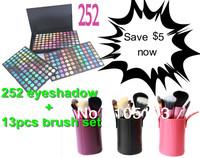 25% off! Free shipping! 252 full color eyeshadow makeup Palette + 13pcs brush set with cylinder holder(purple/black/pink)