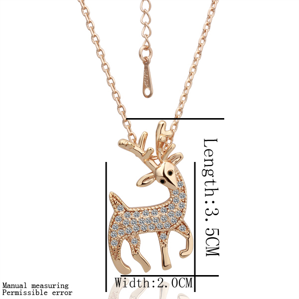Free shipping 18K GP gold plated jewelry crystal necklace fine giraffe crystal rhinestone nickel free pendant necklace SMTPN045(China (Mainland))