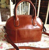 women handbag printing bag Genuine leather oil cowhide shell bag dumplings bag bucket handbag vintage brown bb women's handbag