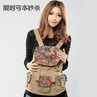 printing backpack Canvas print women's handbag national trend bags backpack female fashion vintage travel bag student backpack