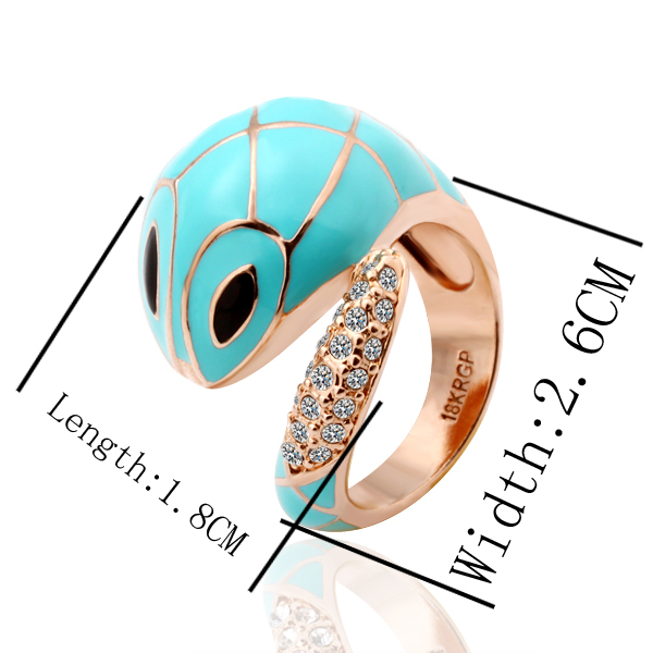 Free shipping 18K GP gold plated ring fashion jewelry ring nickel free copper rhinestone crystal snake ring SMTPR032(China (Mainland))