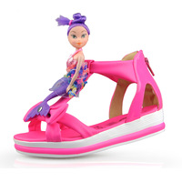 Hot Selling! 2014 Summer Merlons Child Girls Sandals Princess Shoes Kids Girls Sandals Soft Baby Girls PU Leather Sandals