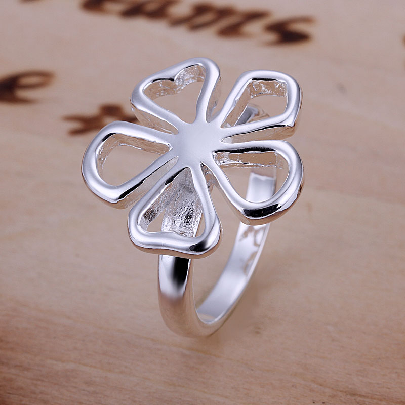 Free shipping 925 sterling silver jewelry ring fine five heart flower fashion ring top quality wholesale and retail SMTR015(China (Mainland))