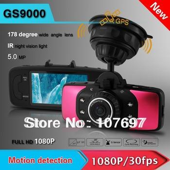 "Amberalla Car DVR Original GS9000 Car dvr 2.7"" LCD 178 Degree Angle full hd1920X1080P 720P 60fps G-Sensor GPS Freeshipping"