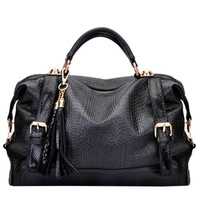 2013 Spring new handbag vintage Korean version snakeskin & tassels Mobile Messenger bag FREE SHIPPING