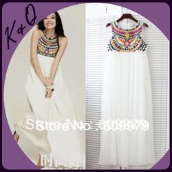2013 beautiful and elegant maxi dress with embroidery and beading collar factory dropshipping with good quality and best price(China (Mainland))