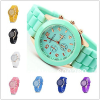 Free Shipping 1pcs Geneva New Style Watch Jelly Watch Three circles Display Silicone Strap Candy Color Unisex Dropship 5353