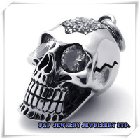 "Men's Big Heavy CZs Skull Biker Stainless Steel Pendant with 21"" Chain Necklace Free Shipping P#90"