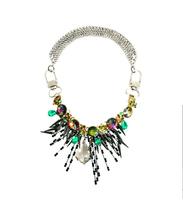 Minimum Order $20 (mixed order)   Exaggerated Premium Crystal Shard Burst Cluster Flower  Bib Statement Necklace