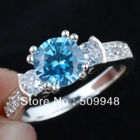 Lady Round Blue Topaz Wedding Band Genuine 925 Sterling Silver Ring R132BT WED Size 5 6 7 8 9 Promotional gift