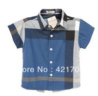 #2 Free shipping 1 piece boy the bule Plaid Cotton Short sleeve Shirt