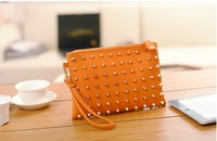 Hot-selling rivet solid color vintage fashion card holder wallet mobile phone bag women's handbag coin purse  Free shipping