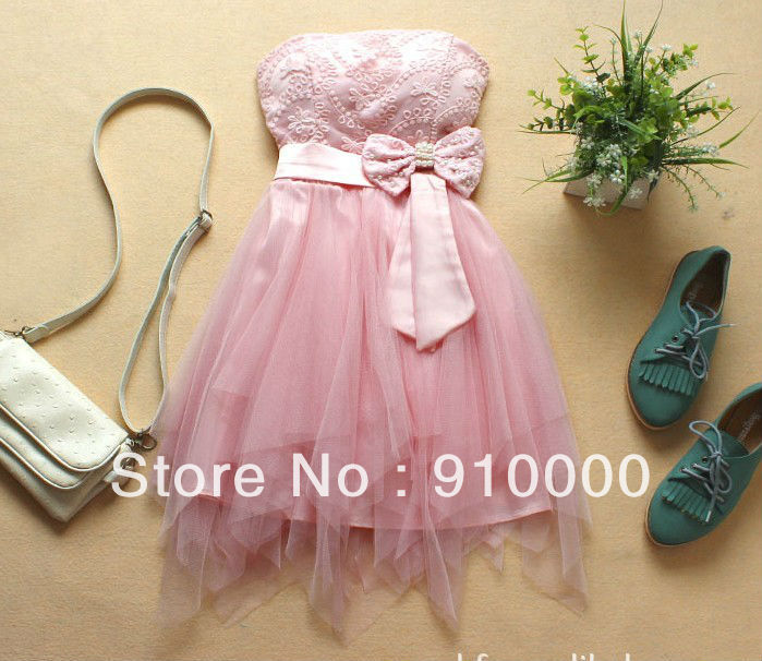 Bridesmaid Party dress 1piece yarn+bow Pearl chiffon+lace Bra princess(China (Mainland))