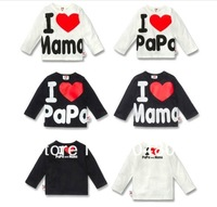 Hot sale Baby T shirt fashion I Love Papa Mama Baby's T-shirts free shopping boy girl's long sleeves children's t-shirt