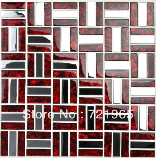 kitchen backsplash tiles ssmt021 silver stainless steel mosaic red
