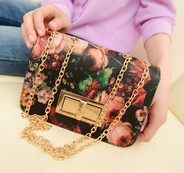 Free shipping 2013 women's handbag vintage oil painting flower lock bag chain mini messenger small bag