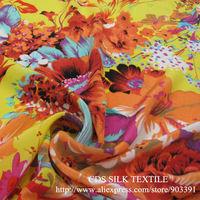 100% Nature SIlk Crepe de Chine Fabric Printed Textile for Dress Material C2814