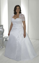 Free shipping white satin v-neck high low Lace jacket Wedding Dresses sexy bridal gowns 2013 custom plus size(China (Mainland))