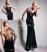 TB-14 2014 Custom Design Popular High Quality Sexy One-shoulder See Through Long Sleeve Beads Crystal Tony Bowls Evening Dresses
