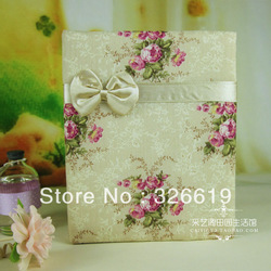 Free Shipping Thermal Cloth Small fresh small the rose fabric photo album the wedding photo album memorial this bow Photo Album(China (Mainland))