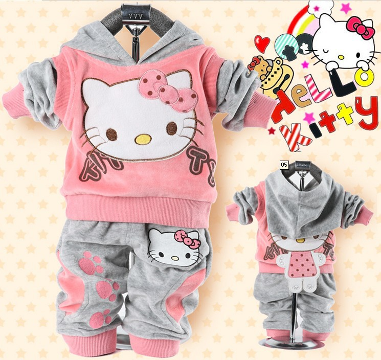 RETAIL baby 2piece suit set tracksuits Girl's Hello Kitty clothing sets velvet Sport suits hoody jackets +pants freeshipping(China (Mainland))