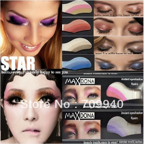 Hot!! Free Shipping Fashion 1- 42 colors 10boxes=60pairs Instant Eyeshadow sticker, magic eyes tattoo ,eye shadow ITEM NO.000320(China (Mainland))