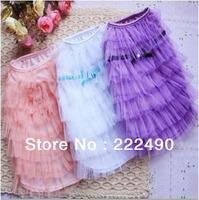 Dog Pet Skirt Lace Princess Dress Clothes Apparel Puppy Wedding Dress  Pink White Purple Wholesale Free Shipping
