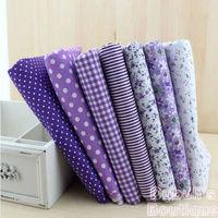 Purple 7 Assorted Pre-Cut Charm Cotton Quilt Fabric Fat Quarter Tissue Bundle, Best Match Floral Stripe Dot Grid Print 50x50cm