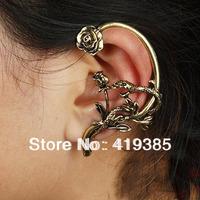 Newest Vintage Punk Rose Flower Snake Ear Cuff Earrings For Women & Men Free Shipping 24pcs/lot 0326042