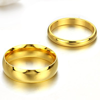 Titanium Steel Couple Rings Gold Plated Filled Wedding Rings For Women 18k Yellow Jewelry Cheap Engagement Rings Anel De Ouro