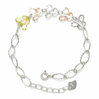 XD S044 925 sterling silver charm bracelet with colorful butterfly perfect gift for women