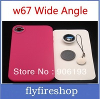 50pcs/LOT FREE shipping w67 Wide Angle Macro Lens + Silicone Case for APPLE iPhone 4.