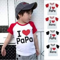Free Shipping Fashion Cotton Children Top Tees, I Love Papa Mama Baby T-shirts, Kids Short Sleeve Shirt 20pcs/lot HTYEF-007