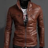 Hot sale! 2014 new men's multi zipper standing collar leather jacket in stock