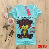 F23 women 2013 New Fashion Design Ladies Bear Short sleeve t shirt Cotton Summer t-shirt tees Free shipping